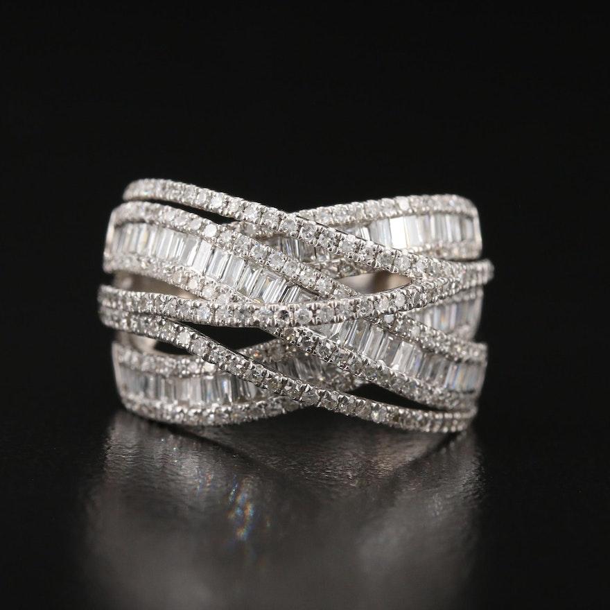 14K 2.00 CTW Diamond Criss-Cross Ring