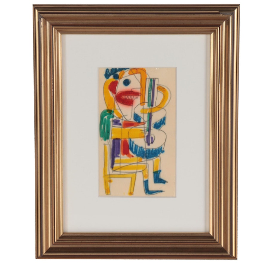 Abstract Ink Drawing of Figure Playing Instrument