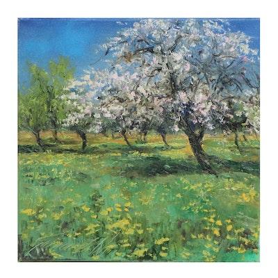 """Garncarek Aleksander Oil Painting """"Blooming Orchard"""""""