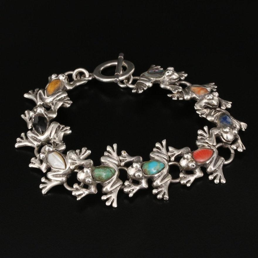 Sterling Gemstone Frog Link Bracelet