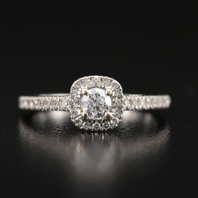 14K Cathedral Set Diamond Halo Ring