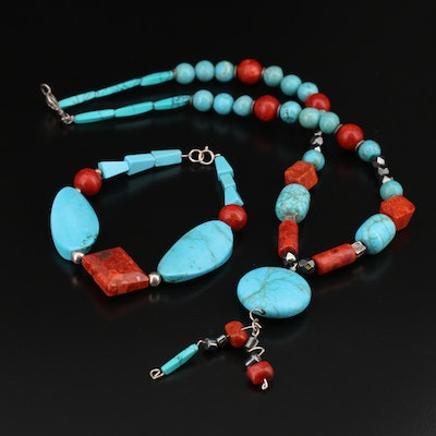 Sterling Magnesite and Coral Beaded Necklace and Bracelet