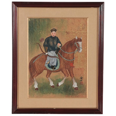 Chinese Gouache Painting on Cork of a Bowman on Horseback