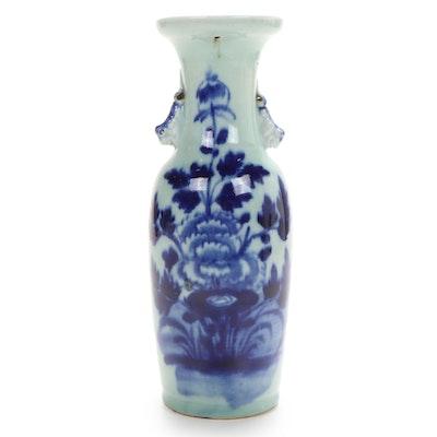 Chinese Blue on Celadon Baluster Vase