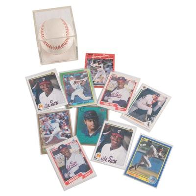 1990s Sammy Sosa Signed Rawlings National League Baseball and Trading Cards