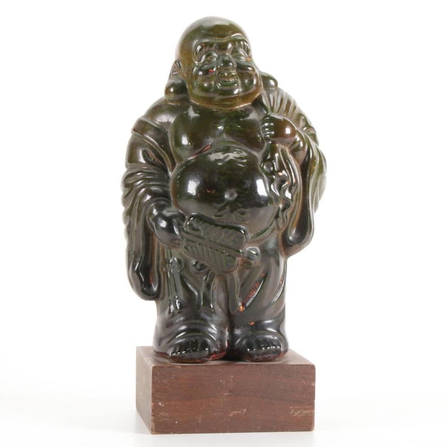 Chinese Style Green Lacquered Ceramic Budai Figurine