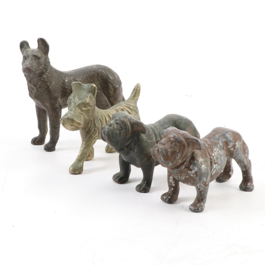 Brass, Cast Iron and Metal Dog Form Figurines