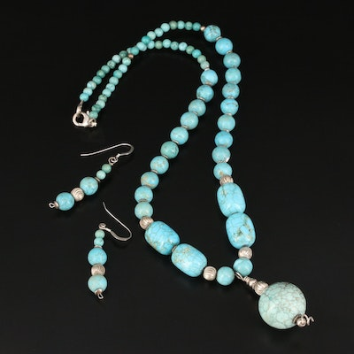 Howlite Bead Necklace and Earring Set