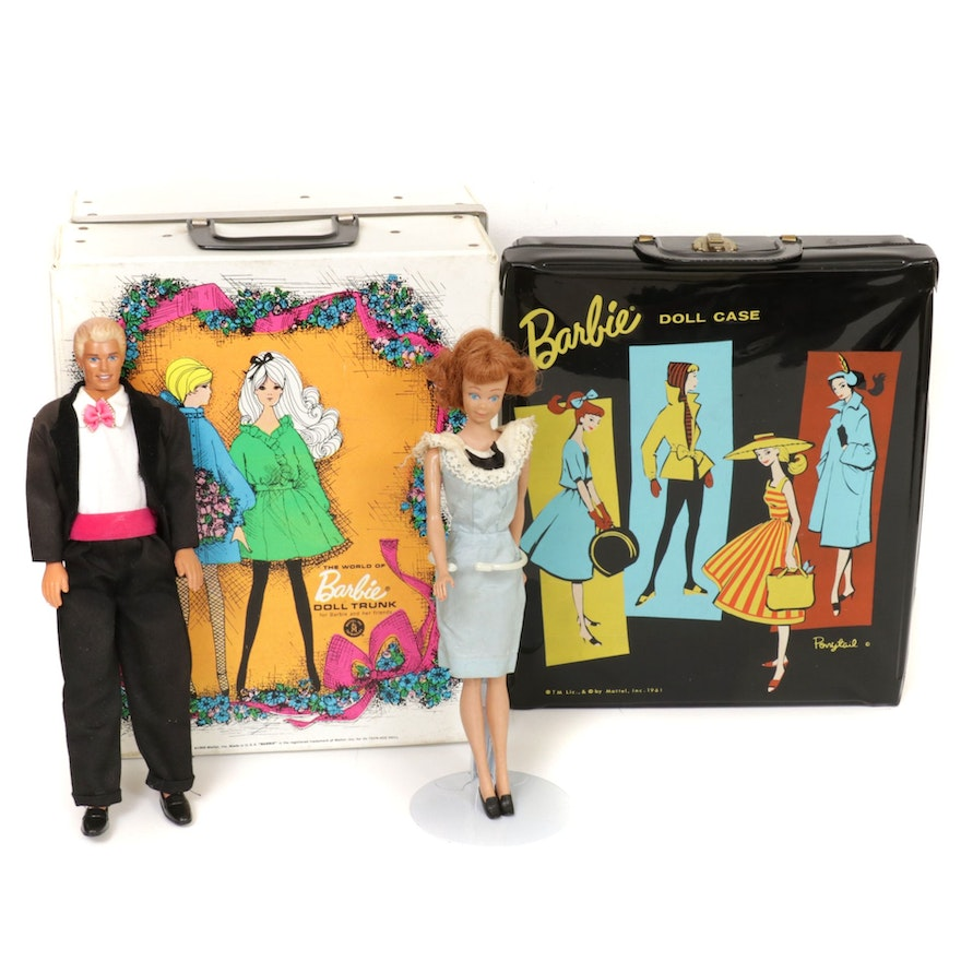 Mattel Barbie Doll Cases with Ken and Midge Dolls, Mid to Late 20th Century