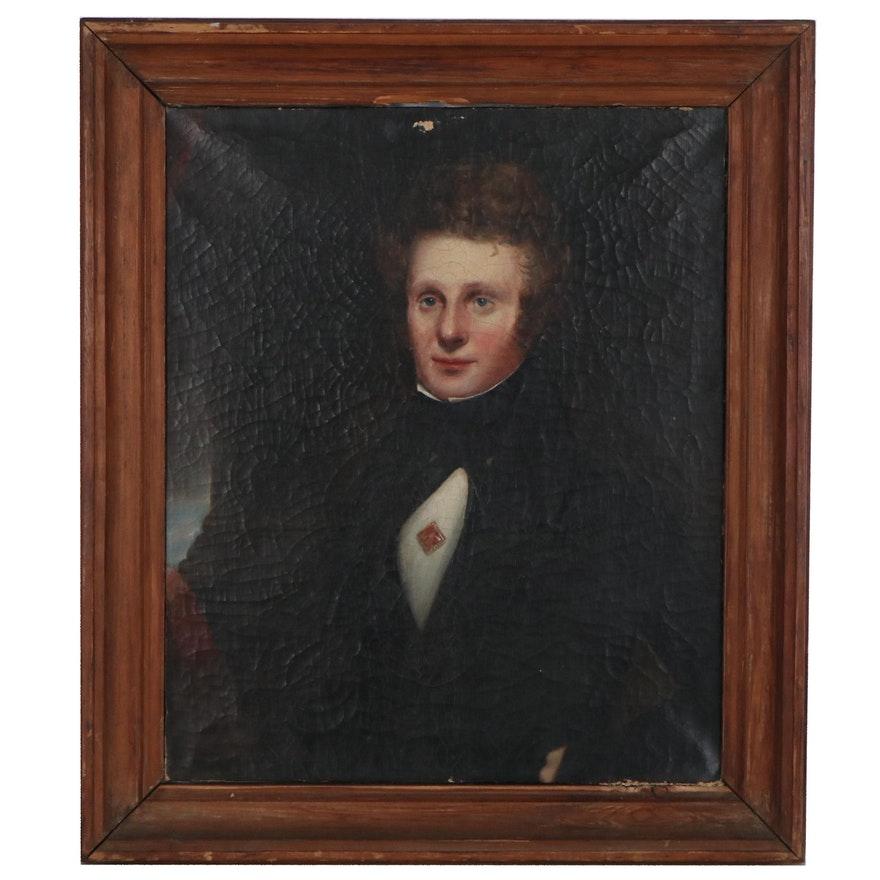 Portrait Oil Painting of Gentleman, 19th Century