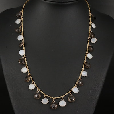 18K Italian Gold Smoky Quartz and Chalcedony Necklace