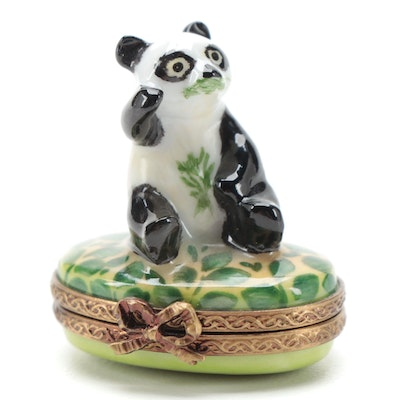 Parry Vieille Hand-Painted Snacking Panda Porcelain Limoges Box