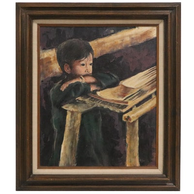 Patsy Malone Oil Painting of Boy at Table, 1978