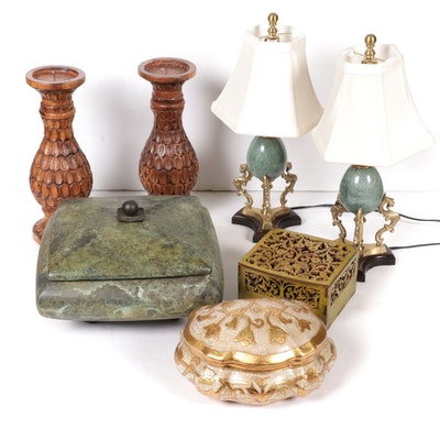 Pair of Stone Egg Boudoir Lamps with Decorative Boxes and Wooden Candle Stands