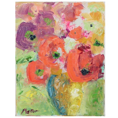 "Claire McElveen Floral Impasto Oil Painting ""Celebration,"" 2021"