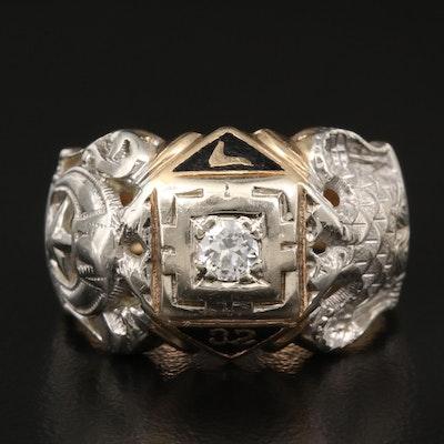 14K Diamond and Enamel Freemason Ring with 18K Accents
