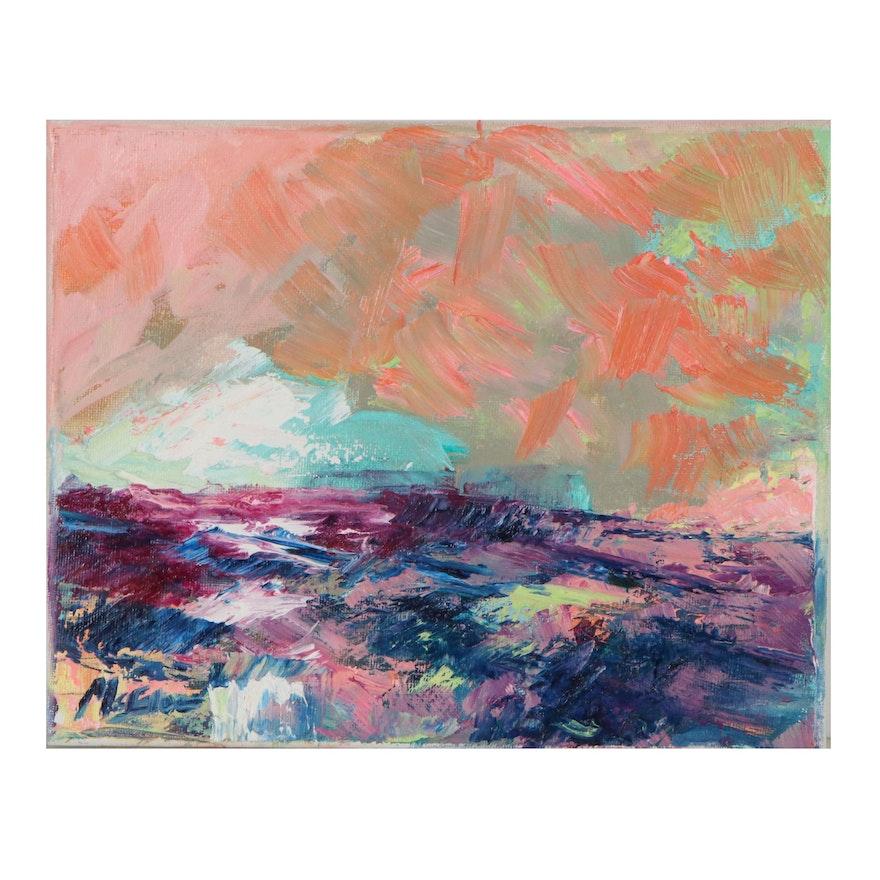 """Claire McElveen Landscape Oil Painting """"Color Fields,"""" 2021"""