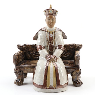 Chinese Ceramic Seated  Emperor Figurine