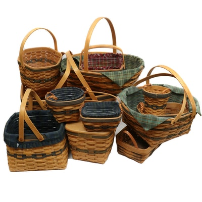 Longaberger Green Striped Christmas and Other Basket Collections