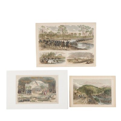 """""""Harper's Weekly"""" Hand-Colored Engravings of Scenes from the Civil War, 1860s"""