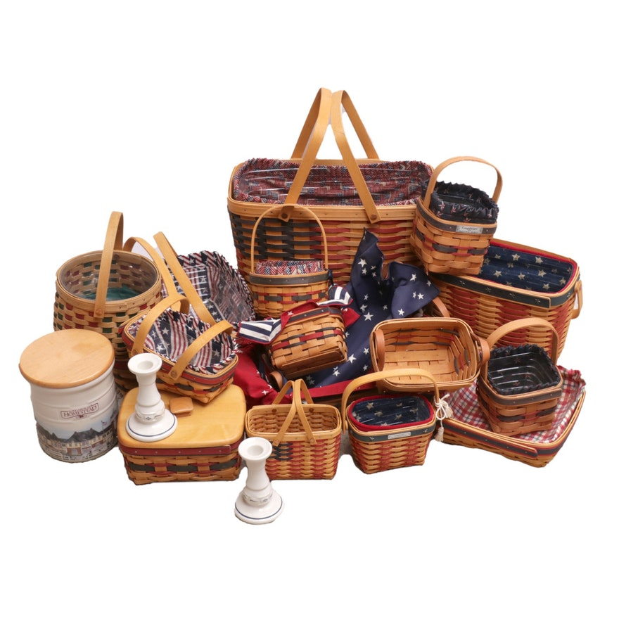 Longaberger Patriotic Themed Baskets and Ceramic Tableware
