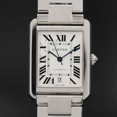 Cartier Tank Solo XL Stainless Steel Automatic Wristwatch