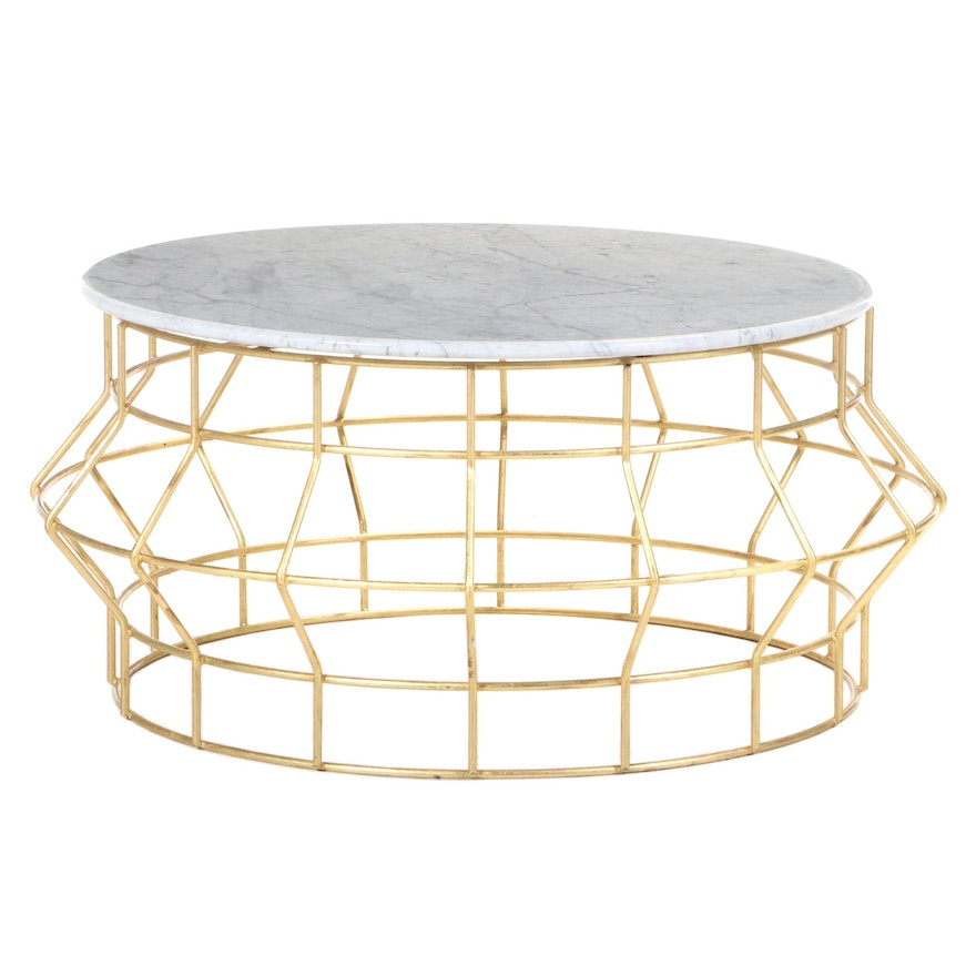 Contemporary Round Gold Painted Coffee Table with Marble Top