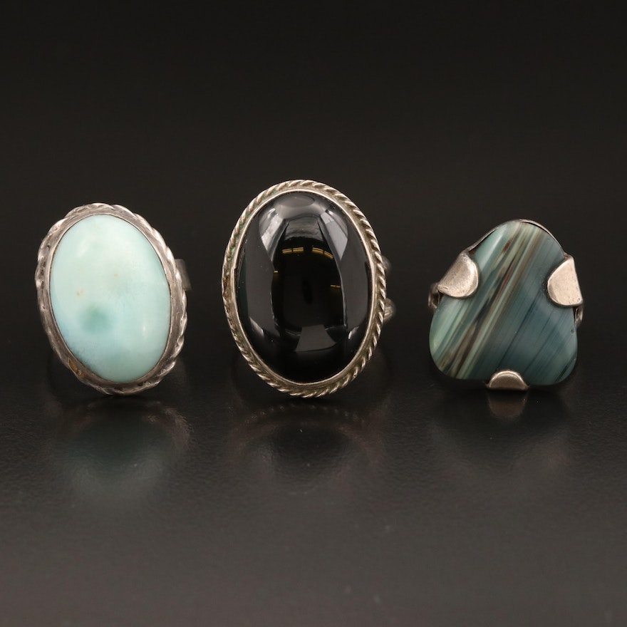 Sterling and 800 Silver Rings with Larimar and Agate
