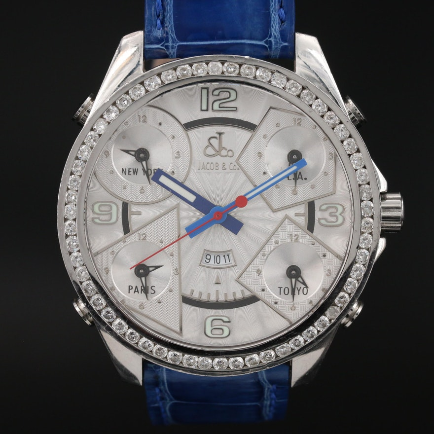 Jacob & Co. Five Time Zone Stainless Steel and 2.60 CTW Diamond Wristwatch