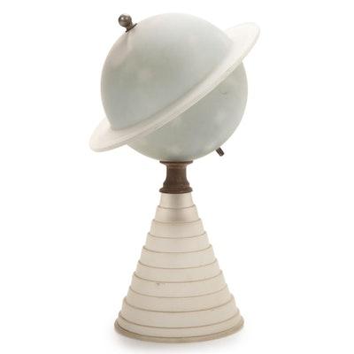 Houze Glass Art Deco New York's 1939 World's Fair Frosted Glass Saturn Desk Lamp