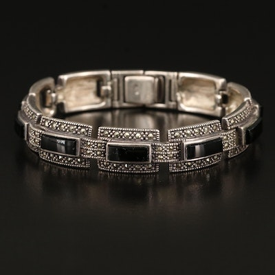 Sterling Black Onyx and Marcasite Line Bracelet