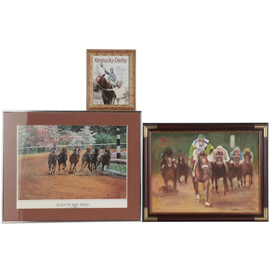 "E. Judd Equestrian Oil Painting ""Barbaro"" Thoroughbred Racing and More"