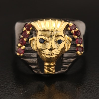 Sterling Pharaoh Ring with Rhodolite Garnet and Sapphire