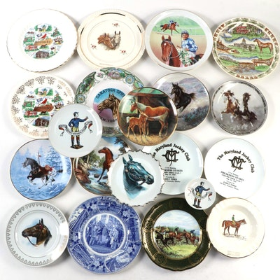 Horse Racing and Equestrian Themed Collector Plates, Mid to Late 20th Century