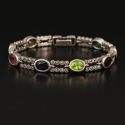 Sterling Glass and Marcasite Link Bracelet