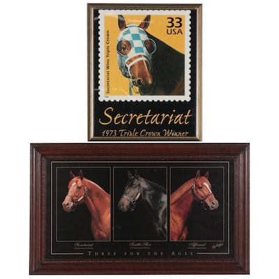 Offset Lithograph after Tony Leonard of Secretariat and Other Race Horses