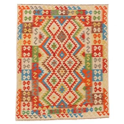 5'6 x 8'1 Handwoven Afghan Kilim Wool Area Rug