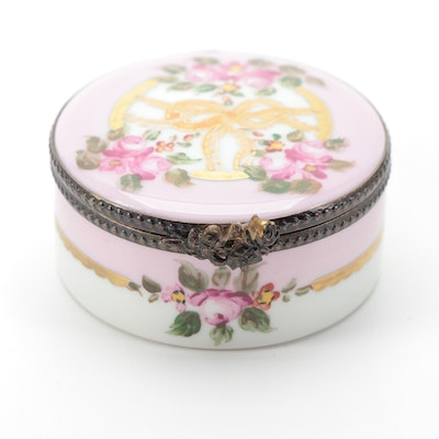 Hand-Painted Pink Rose Wreath Limoges Porcelain Box