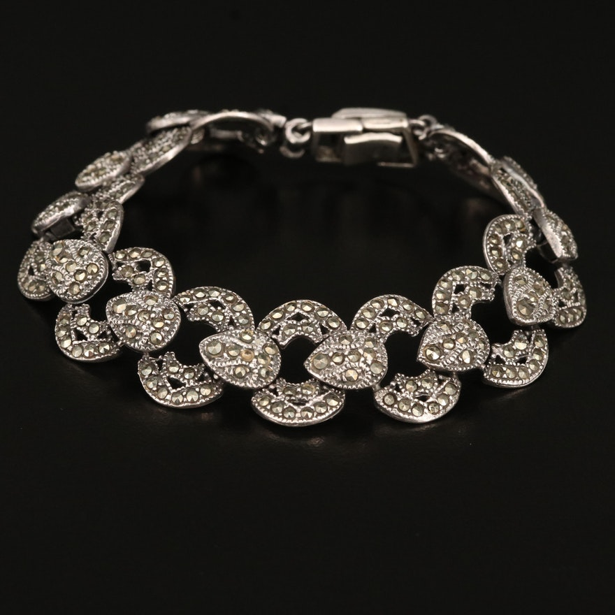 Sterling Marcasite Fancy Link Bracelet