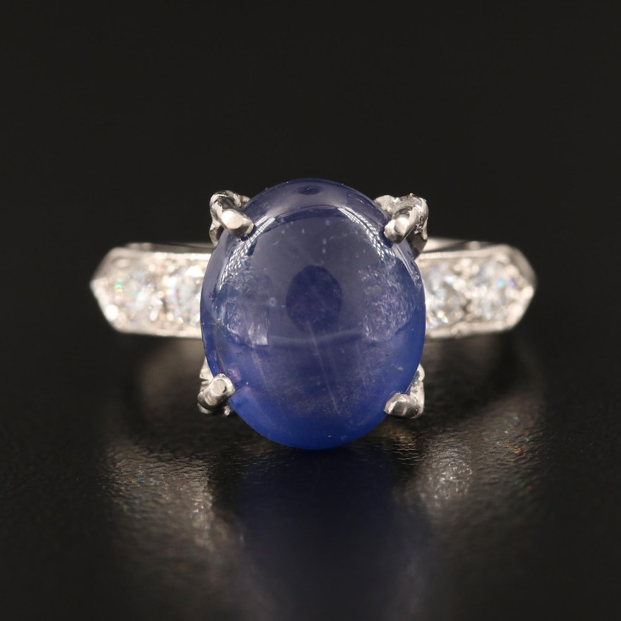 Platinum 9.78 CT Color-Change Star Sapphire and Diamond Ring with GIA Report