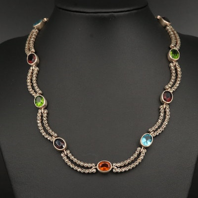 Sterling Art Glass and Marcasite Festoon Necklace