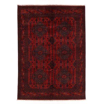 8'2 x 11'3 Hand-Knotted Afghan Kunduz Wool Area Rug