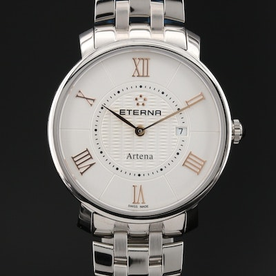"Eterna ""Artena"" Stainless Steel Quartz Wristwatch"