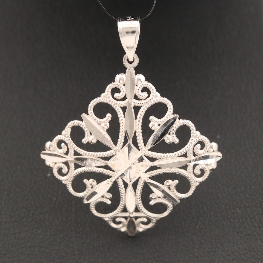 14K Geometric Scroll Pendant with Diamond Cut Accents