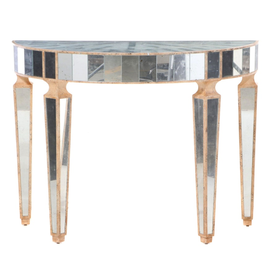 Contemporary Faux-Stone and Mirrored Glass Demilune Console Table