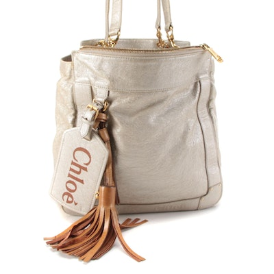 Chloé Eden Small Tote Bag in Metallic Pearl Leather with Tassel