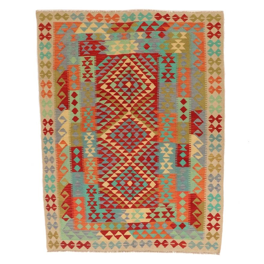 5'1 x 7' Handwoven Afghan Kilim Wool Area Rug