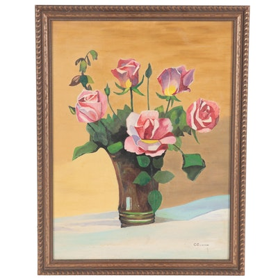 Carlo Camarda Floral Still Life Oil Painting, 1946