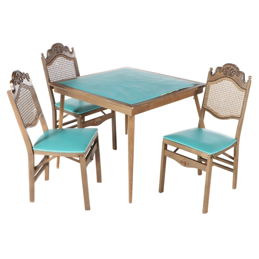 Cane Back Vinyl Upholstered Card Table with Folding Chairs, Mid 20th Century