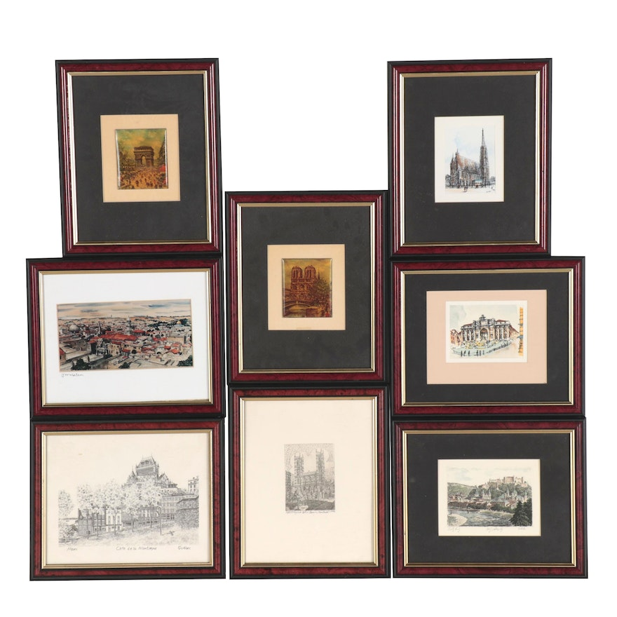 Prints of Famous Cityscapes and Monuments, Late 20th Century